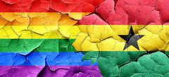 Gay pride flag with Ghana flag on a grunge cracked wall Stock Illustration