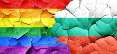 Gay pride flag with Bulgaria flag on a grunge cracked wall - stock illustration