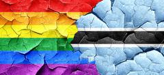 Gay pride flag with Botswana flag on a grunge cracked wall Stock Illustration