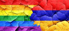 Gay pride flag with Armenia flag on a grunge cracked wall - stock illustration
