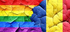 Gay pride flag with Romania flag on a grunge cracked wall Stock Illustration