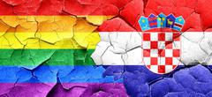 Gay pride flag with Croatia flag on a grunge cracked wall - stock illustration