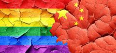 Gay pride flag with China flag on a grunge cracked wall Stock Illustration