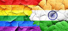 Gay pride flag with India flag on a grunge cracked wall - stock illustration