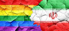 Gay pride flag with Iran flag on a grunge cracked wall Stock Illustration