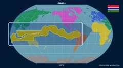 Gambia - 3D tube zoom (Kavrayskiy VII projection). Continents - stock footage