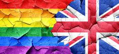 Gay pride flag with Great Britain flag on a grunge cracked wall Stock Illustration