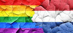 Gay pride flag with Netherlands flag on a grunge cracked wall Stock Illustration