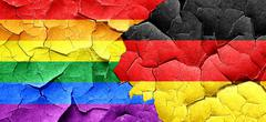 Gay pride flag with Germany flag on a grunge cracked wall Stock Illustration