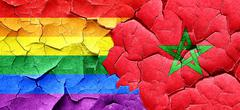 Gay pride flag with Morocco flag on a grunge cracked wall Stock Illustration