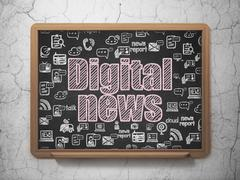 News concept: Digital News on School board background Stock Illustration
