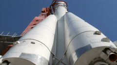 Rocket on start view from down to up Stock Footage