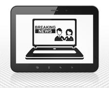 News concept: Tablet Pc Computer with Breaking News On Laptop on display - stock illustration