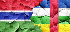 Gambia flag with Central African Republic flag on a grunge crack - stock illustration
