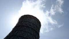 The cooling system of a nuclear reactor. One cooling tower - stock footage