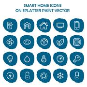 Smart home icons on blue splatter paint. Flat icons on round paint stains Stock Illustration
