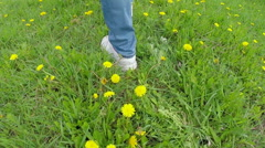 Legs going on a grass with dandelions. Slow motion Stock Footage