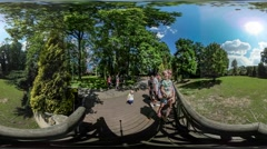 360Vr Video Families Observation Deck City Day Opole Walking in Park Looking Stock Footage