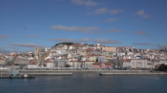 Lisbon old town waterfront buildings, Portugal Stock Footage