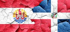 French polynesia flag with Dominican Republic flag on a grunge c Stock Illustration