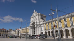 Lisbon Commercial Square, old town buildings, Portugal Stock Footage