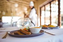 View of a prepared dish in a restaurant Stock Photos