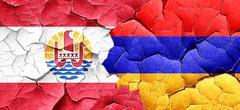 french polynesia flag with Armenia flag on a grunge cracked wall - stock illustration