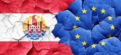 french polynesia flag with european union flag on a grunge crack - stock illustration