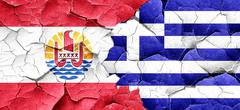 French polynesia flag with Greece flag on a grunge cracked wall Stock Illustration