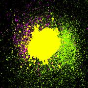 Colorful acrylic paint splatter, blob on black background. Neon spray stains - stock illustration