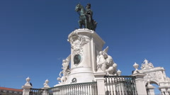 Lisbon, Commercial Square, King Jose I horse statue, Portugal Stock Footage