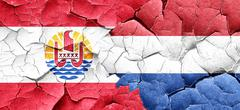French polynesia flag with Netherlands flag on a grunge cracked Stock Illustration