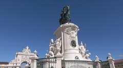 Lisbon, King Jose I horse statue, Portugal Stock Footage