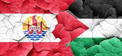 French polynesia flag with Palestine flag on a grunge cracked wa Stock Illustration