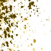 Vector gold paint splash, splatter, and blob on white background. Spray stain - stock illustration