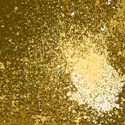 Vector gold paint splash, splatter, and blob on black background. Spray stain Stock Illustration