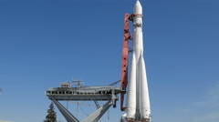 Rocket Vostok on launch pad in sunny day - stock footage