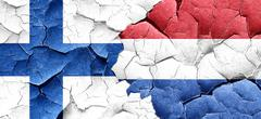 finland flag with Netherlands flag on a grunge cracked wall - stock illustration