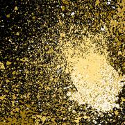 Vector gold paint splash, splatter, and blob on black background. Spray stain - stock illustration