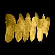 Vector gold paint spiral wave smear stroke stain on black background. Abstract Stock Illustration