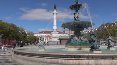 Lisbon, Rossio Square mosaic tiles, Portugal Stock Footage