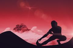 Female athlete stretching against sky and mountains - stock illustration