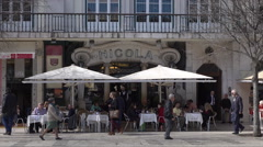 Lisbon, Nicola traditional pavement cafe, Rossio Square, Portugal Stock Footage