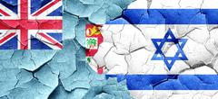 Fiji flag with Israel flag on a grunge cracked wall Stock Illustration