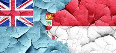 Fiji flag with Indonesia flag on a grunge cracked wall - stock illustration