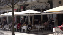 Lisbon, Cafe Nicola traditional pavement cafe in Rossio Square, Portugal Stock Footage