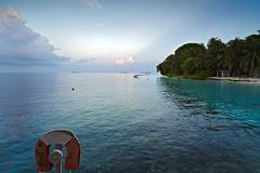 scene with an idyllic landscape in Maldives - stock photo