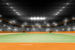 Image of handball field with spectators - stock illustration