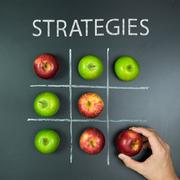 Strategies concept with tic tac toe game Stock Photos