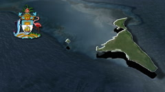 South Abaco With Coat Of Arms Animation Map Stock Footage